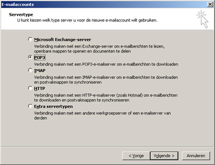 Outlook 2003 - pop3 configureren