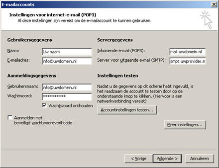 Outlook 2003 - Instellingen voor internet e-mail (pop3)